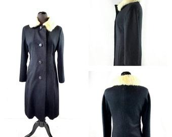 Black Wool Coat with White Fur Collar