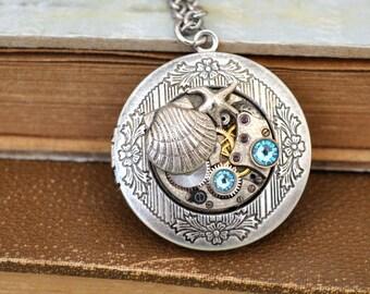 silver steampunk locket necklace BEACH LOCKET antique silver steampunk vintage jeweled watch movement locket necklace , sea shell, sea star