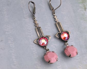 Silver Art Deco, antiqued silver vintage Art Deco style earrings with pink color Swarovski glass jewels, long dangler