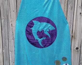 Shark Adult Length Cape in Turquoise Blue Sequin with Purple Faux Velvet Lining