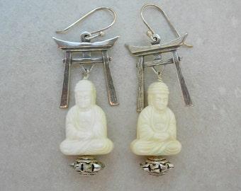 Buddha Earrings, Shinto/Zen, Creamy White German Lucite Buddhas & Silver Toriis, Daibutsu, by SandraDesigns