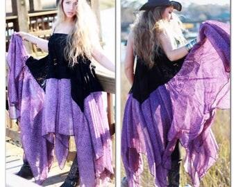OS boho maxi dress, Stevie Nicks Style Purple spell gypsy dress, romantic festival bohemian beach dress, boho sundress, True rebel clothing