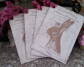 new le lapin french market bunny tags set of 4