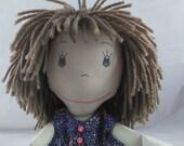 READY TO SHIP Cloth Rag Doll, light skin tone,mop of light brown hair,Removable Clothes,Rag Doll,Fabric Doll, Stuffed Doll,Plush Doll