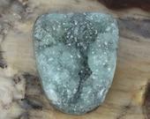 Hemimorphite Gray-ish Aqua Blue Beautiful Super Sparkling Druzy/Drusy Cabochon on Brown Matrix
