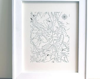 Mount Hood, Oregon, Letterpress Printed Mini Map