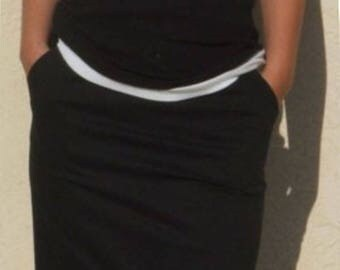 CLEARANCE / Classic Black Pencil Skirt, Wear to Work Skirt, Pocket Skirt, Tailored Skirt, Cotton Pencil Skirt
