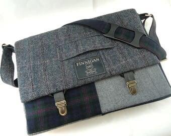 Mens Messenger Bag Blue and Purple Mens Gift Womens laptop Messenger Bag Laptop Sleeve, Canvas tote bag, Upcycled bag