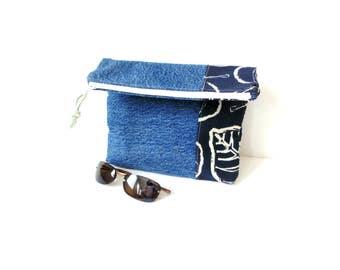 Blue denim fold over clutch, recycled denim jeans bag, zipper pouch, fold over purse, project bag, travel bag, summer handbag