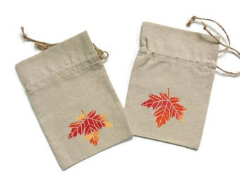 Linen gift bag, drawstring pouch, Autumn gift bag, orange red maple leaf, eco bag, jewelry travel bag, Happy Birthday gift bag, leaf motif