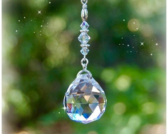 Hanging Crystal Prism, Rearview Mirror Car Charm, Home Decor, Ornament, Beaded Sun Catcher, Crystal Ball