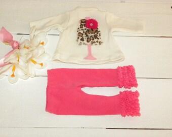White Tunic Dress and Candy Pink Ruffle Leggings - 18 inch walking doll