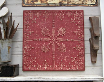 Antique PRESSED TIN. 2'x2' FRAMED Tin Ceiling Tile.  Architecture salvage. Red metal wall decor. Vintage wall hanging.