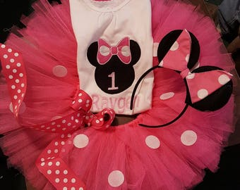 Boutique OOAK Custom Made Red Minnie Mouse Birthday Tutu Set in Choice of Colors