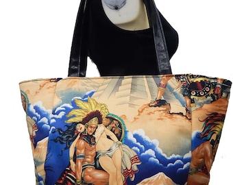 "USA Handmade Travel Bag Shoulder Bag Style With ""AZTEC"" Pattern HandBag Purse, Cotton, new"