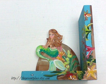 mermaid bookends,children's bookends,book ends,kids book ends,mermaids,girl book ends,kids bookends,personalized book ends,mermaid book ends