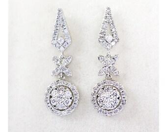 Crystal Bridal Earrings, Round Halo Wedding Earrings, Bridal Jewelry, Bridesmaid earrings, Wedding Jewelry - Ariana Earrings