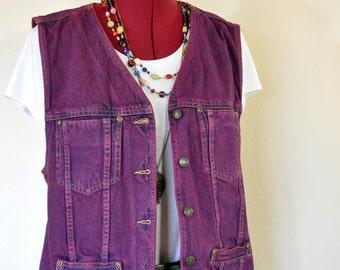 "Wine Large Denim VEST - Maroon Red Dyed Upcycled Liz Claiborne Denim Trucker Vest - Adult Womens Size Large (40"" chest)"