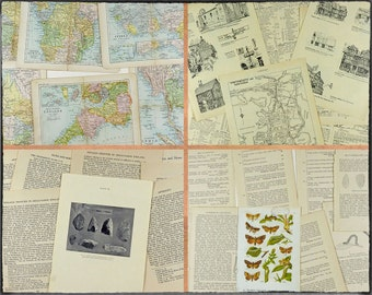 Vintage paper pack, 30 pages, English history, archaeology, old colour maps, gazetteer pages, winged insects, variety pack.