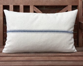 Grain Sack Lumbar Pillow Cover Blue Stripe