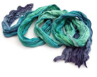 Peacock ombre Teal Indigo long crinkle boho fashion hand dyed painted silk scarf