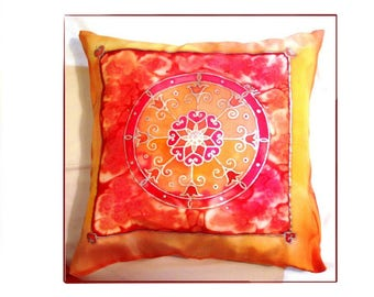 Decorative painted indian mandala throw pillow cover boho gypsy spiritual silk art for couch