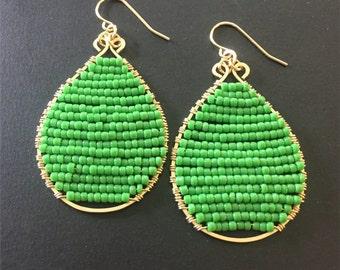 Earrings - Teardrop Earrings - Handcrafted 14k Gold Fill Teardrop Earrings - Green Beaded Earrings