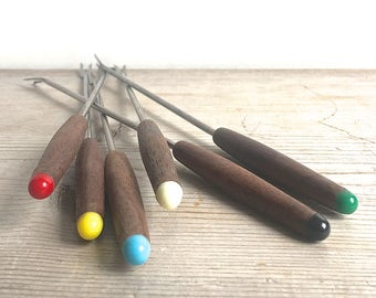 Vintage Fondue Forks Apco Set Of 6 Bonus 10 Smaller Forks Wood Handles Assorted Colors Mid Century Dining Party 1960s
