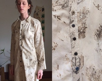 Eco Dyed Handmade button up Smock Dyed with Leaves, Mulberry, and Iron vintage antique One of a Kind