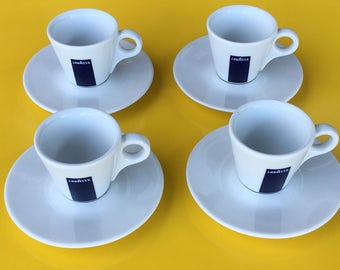 Set of Four Vintage Italian Demitasse Cups and Saucers by Lavazza