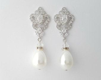 Pearl Wedding Earrings Pearl Drop Earrings Bridal Jewelry Large Pearl Earrings Crystal Bridal Drop Earrings, Mabel