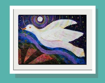 Darkest Before Dawn Art Print - Original Acrylic Painting White Dove in Flight - Folk Art - Peace - Fun Wall Art