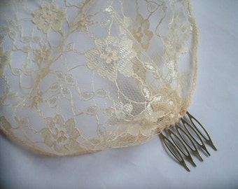 Vintage Gatsby 1920s Style Champagne Gold Lace Birdcage Bandeau Brides Wedding Bridal Veil Head Scarf- Ready Made