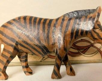 Wooden carved Zebra Wood brown and black zebra hand carved wooden figurine animal figurine