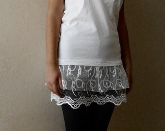 Lace shirt extender Ivory Lace Top Extender, White Shirt Extender, Cotton Slip Extender, dress extender slip