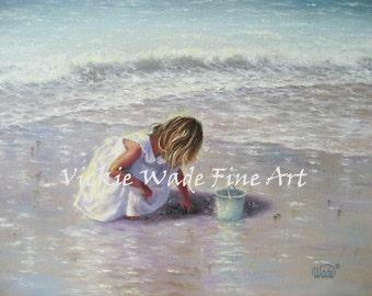 Finding Sea Glass Art Print, blond beach girl, beach art, beach paintings, beach decor, seafoam, shelling, children, beach girl wall art,