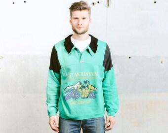 90s Mens Sweatshirt . Vintage 1990s Green Sweatshirt Sports Sweater Jumper Normcore Jumper Casual Rare Sportswear Boyfriend Gift . size XL