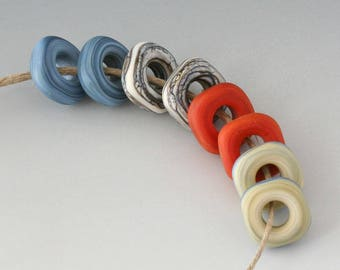 Mini Ring  Squared Pairs - (8) Handmade Lampwork Beads -  Blue, Rust - Etched, Matte