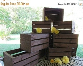 SALE 10in, 18in rustic wooden crates / table centerpieces / Rustic wedding / reception decor / flower vase / planter box / barn wedding / di