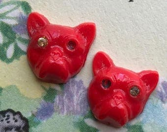 Pug Dog Cabochons,Vintage Glass Cat Cabochons, Rhinestones Red,NOS Pressed #464B