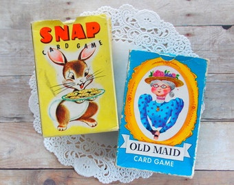 Vintage Whitman Card Game Boxes / Old Maid & Snap