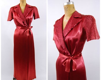 1930s Satin Dressing Gown - 1930s Wrap Dress - Wine Colored Satin Robe -  Wine Red Satin Early 1940s Boudoir