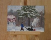 Aceo, winter landscape, snow painting, small oil painting.