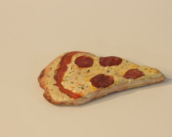 Painted Rocks, food art, pizza slice, paperweight, decoration ,unique gift,