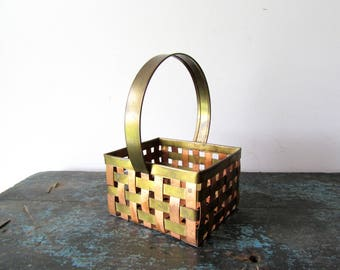 Vintage Folk Art Hand Made Woven Metal Basket Brass Copper