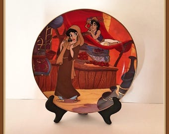 "Disney Aladdin Plate, ""Aladdin in Love"", Bradford Exchange, Plate Hanger Included, Vintage 1994"