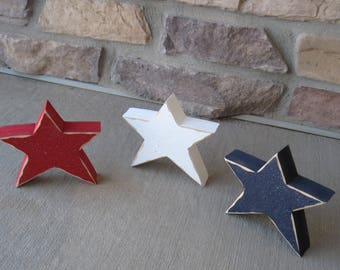 3 Free Standing STAR BLOCK SET for July 4th, shelf, desk, office and americana home decor