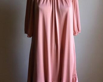 70s Mauve Pink Tent Dress • Free Size Dress