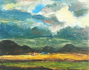 Haven -Mountain Storm Clouds Oil Painting, Iceland Landscape, Surreal Scenery, Icelandic Houses, Impasto, Oil Knife Fine Art, Impressionist