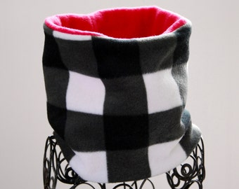 Fleece Neck Warmer / Neck Gaiter / Cowl Scarf - Buffalo Black White Plaid (pink or white lining) - Reversible - Kids or Adult Sizes
